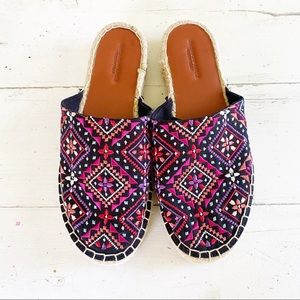 NWOT American Eagle Embroidered Mule Espadrilles